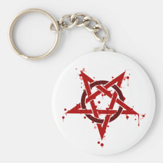 Red Satanic Spotted Pentagram Basic Round Button Key Ring