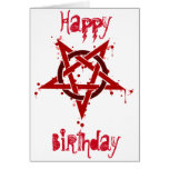Red Satanic Spotted Pentagram Birthday Greeting Card