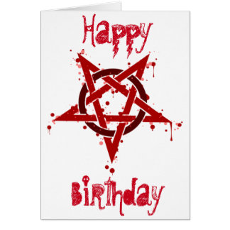 Red Satanic Spotted Pentagram Birthday Greeting Card