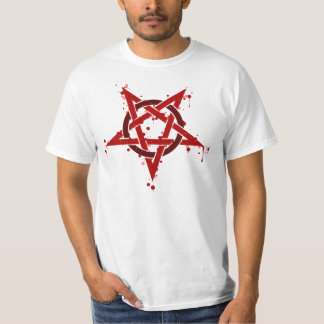 Red Satanic Spotted Pentagram T-Shirt