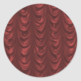Red Satin Fabric with Scalloped Pattern Round Sticker