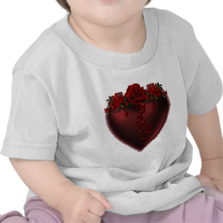 Red Satin Heart And Roses Tee Shirts