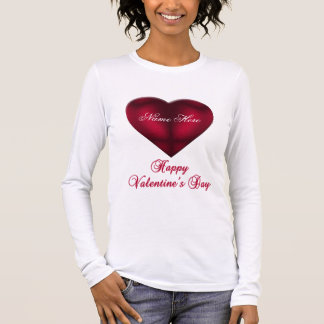 Red Satin Heart Long Sleeve T-Shirt