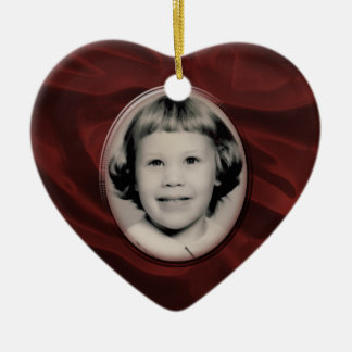 Red Satin Heart Memorial Ornament