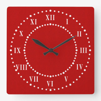 Red Satin Look Roman Numeral Wall Clock