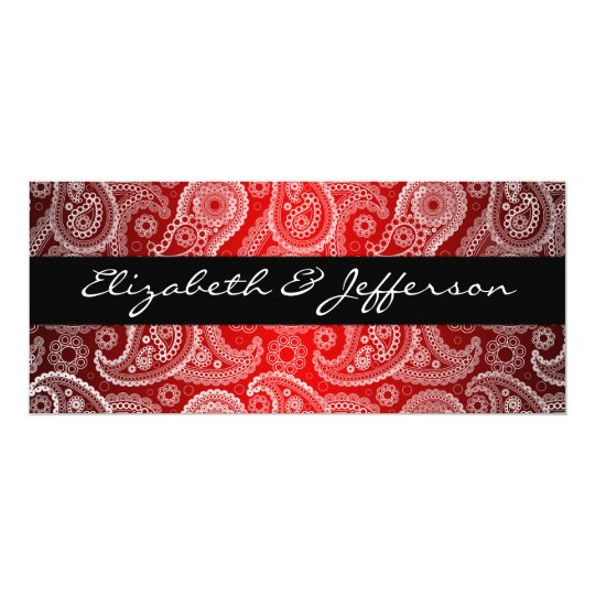 Red Satin & White Paisley Lace Wedding Invitation