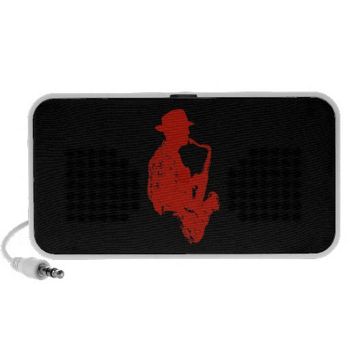 Red sax player side view outline wearing hat travelling speakers