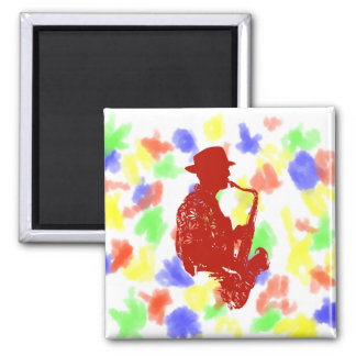 Red sax player side view outline wearing hat square magnet