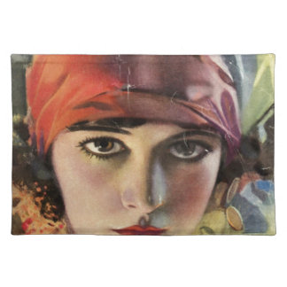 Red Scarf Gypsy Lady Placemat