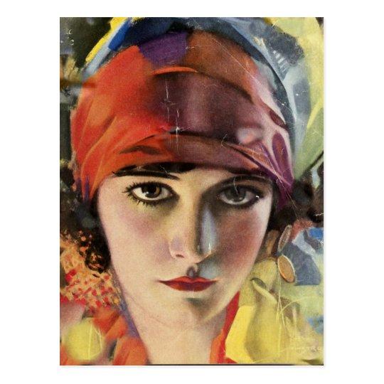 Red Scarf Gypsy Lady Postcard
