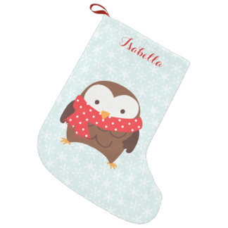 Red Scarf Holiday Owl Personalized Small Christmas Stocking