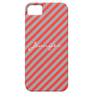 Red Scarlet and Grey Stripes iPhone 5 Case