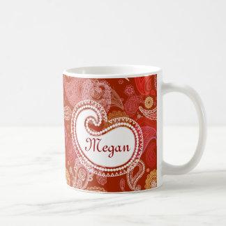 Red scarlet  paisley coffee mug