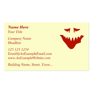 Red Scary Face. Monster. Pack Of Standard Business Cards