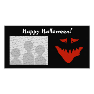 Red Scary Face Monster Photo Card Template