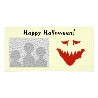 Red Scary Face. Monster. Photo Card Template