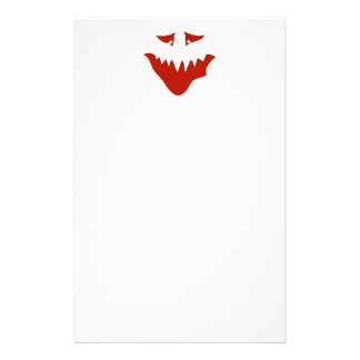 Red Scary Face Monster Stationery Design