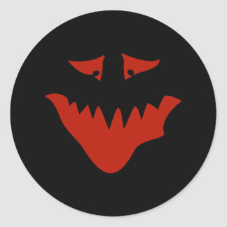 Red Scary Face. Monster. Round Sticker