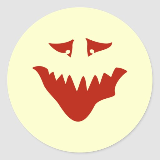 Red Scary Face. Monster. Round Stickers