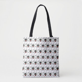 RED SCARY  SPIDERS  TOTE BAG
