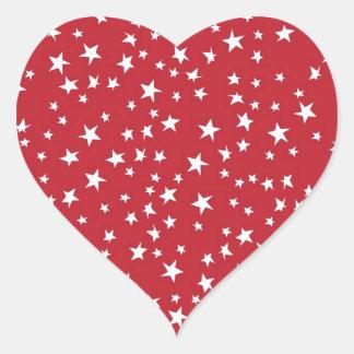 Red Scattered Stars Heart Sticker
