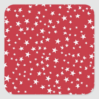 Red Scattered Stars Square Sticker