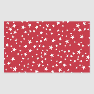 Red Scattered Stars Rectangle Stickers