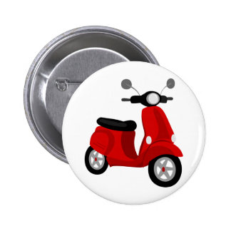 Red Scooter 6 Cm Round Badge