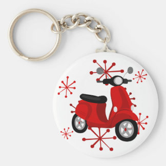 Red Scooter Basic Round Button Key Ring