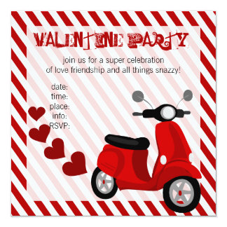 Red Scooter with Hearts! 13 Cm X 13 Cm Square Invitation Card