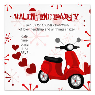Red Scooter with Hearts Personalized Announcements