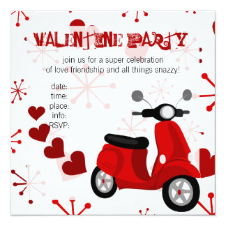 Red Scooter with Hearts! Personalized Announcements