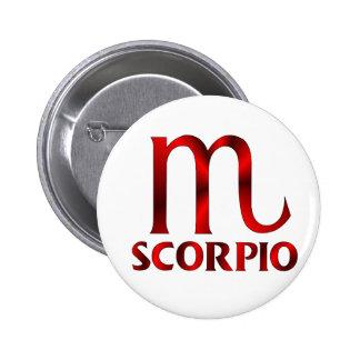 Red Scorpio Horoscope Symbol 6 Cm Round Badge
