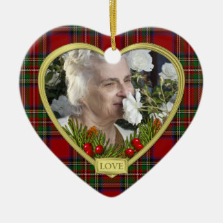 Red Scottish Tartan Memorial Heart Photo Christmas Ceramic Heart Decoration