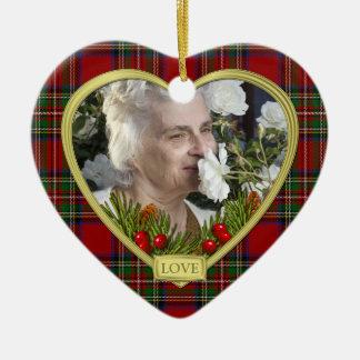 Red Scottish Tartan Memorial Heart Photo Christmas Christmas Ornament