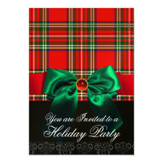 RED SCOTTISH TARTAN WITH GREEN BOW CHRISTMAS PARTY CARD