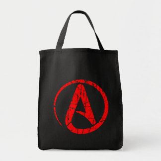 Red Scratched and Worn Atheist Atheism Symbol Canvas Bag
