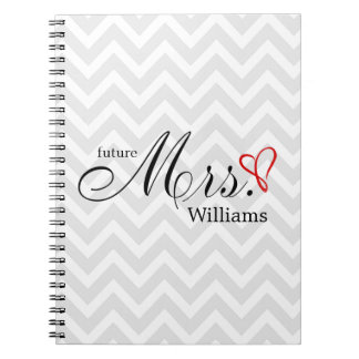 Red Scribbled Heart Future Mrs Wedding Planner Spiral Notebook