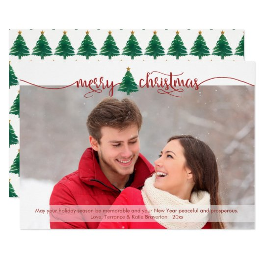 Red Script Merry Christmas and Watercolor Tree Card