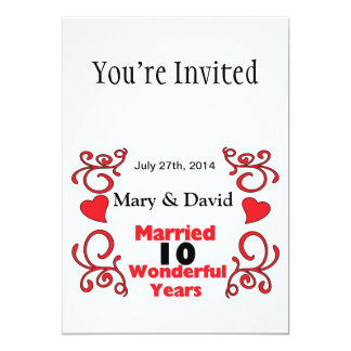 Red Scroll & Hearts Names & Date 10 Yr Anniversary 5x7 Paper Invitation Card