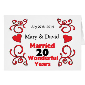 Red Scroll & Hearts Names & Date 20 Yr Anniversary Greeting Card