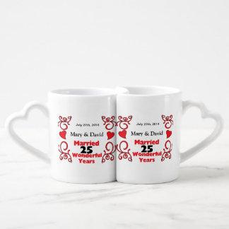 Red Scroll & Hearts Names & Date 25 Yr Anniversary Lovers Mug Set