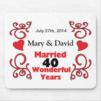 Red Scroll & Hearts Names & Date 40 Yr Anniversary Mouse Mat