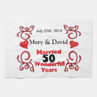 Red Scroll & Hearts Names & Date 50 Yr Anniversary Tea Towel