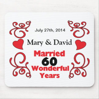 Red Scroll & Hearts Names & Date 60 Yr Anniversary Mouse Pad