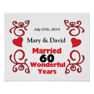 Red Scroll & Hearts Names & Date 60 Yr Anniversary Poster
