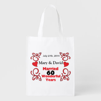 Red Scroll & Hearts Names & Date 60 Yr Anniversary Reusable Grocery Bag