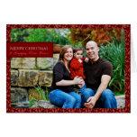 Red Scroll Single Photo Christmas Card