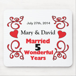 Red Scrolls & Hearts Names & Date 5 Yr Anniversary Mousepad