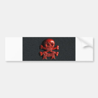 Red scull and cross bones bumper sticker